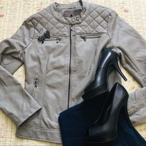 Taupe Gray Faux Leather Jacket Quilted Pattern L
